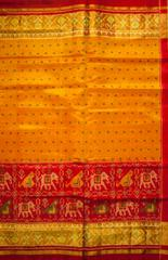 Single Ikat Patola Saree Handwoven-Pure Silk-Orange and Yellow