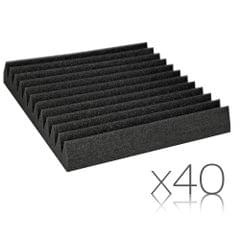 Set of 40 Studio Wedge Acoustic Foam Black 30 x 30cm