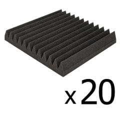 Set of 20 Studio Wedge Acoustic Foam Charcoal 30 x 30cm