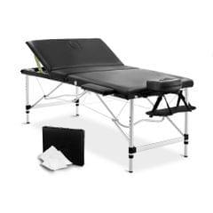 Portable Aluminium 3 Fold Massage Table Chair Bed Black 80cm