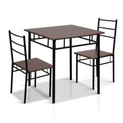 Industrial Dining Table and Chairs Set Walnut and Black