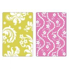 Sizzix Textured Impressions Embossing Folders 2PK - Damask & Beaded Floral Stripe Set - 658352