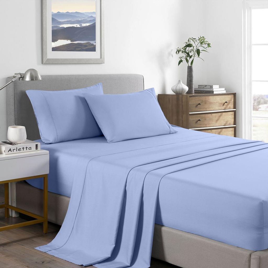 (KING) Royal Comfort 2000 Thread Count Bamboo Cooling Sheet Set Ultra Soft Bedding  - Light Blue