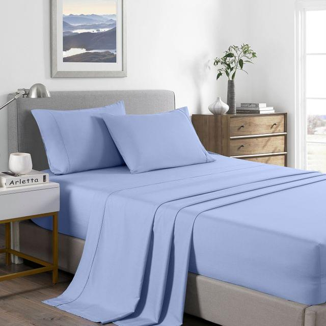 (DOUBLE) Royal Comfort 2000 Thread Count Bamboo Cooling Sheet Set Ultra Soft Bedding  - Light Blue