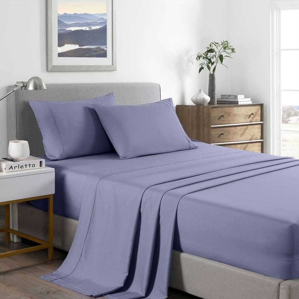 (DOUBLE) Royal Comfort 2000 Thread Count Bamboo Cooling Sheet Set Ultra Soft Bedding  - Lilac Grey