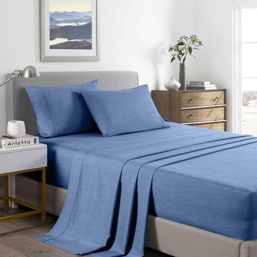 (DOUBLE) Royal Comfort 2000 Thread Count Bamboo Cooling Sheet Set Ultra Soft Bedding - Denim