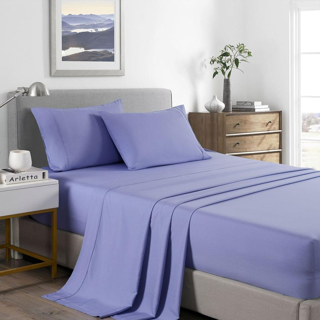 (DOUBLE) Royal Comfort 2000 Thread Count Bamboo Cooling Sheet Set Ultra Soft Bedding  - Mid Blue