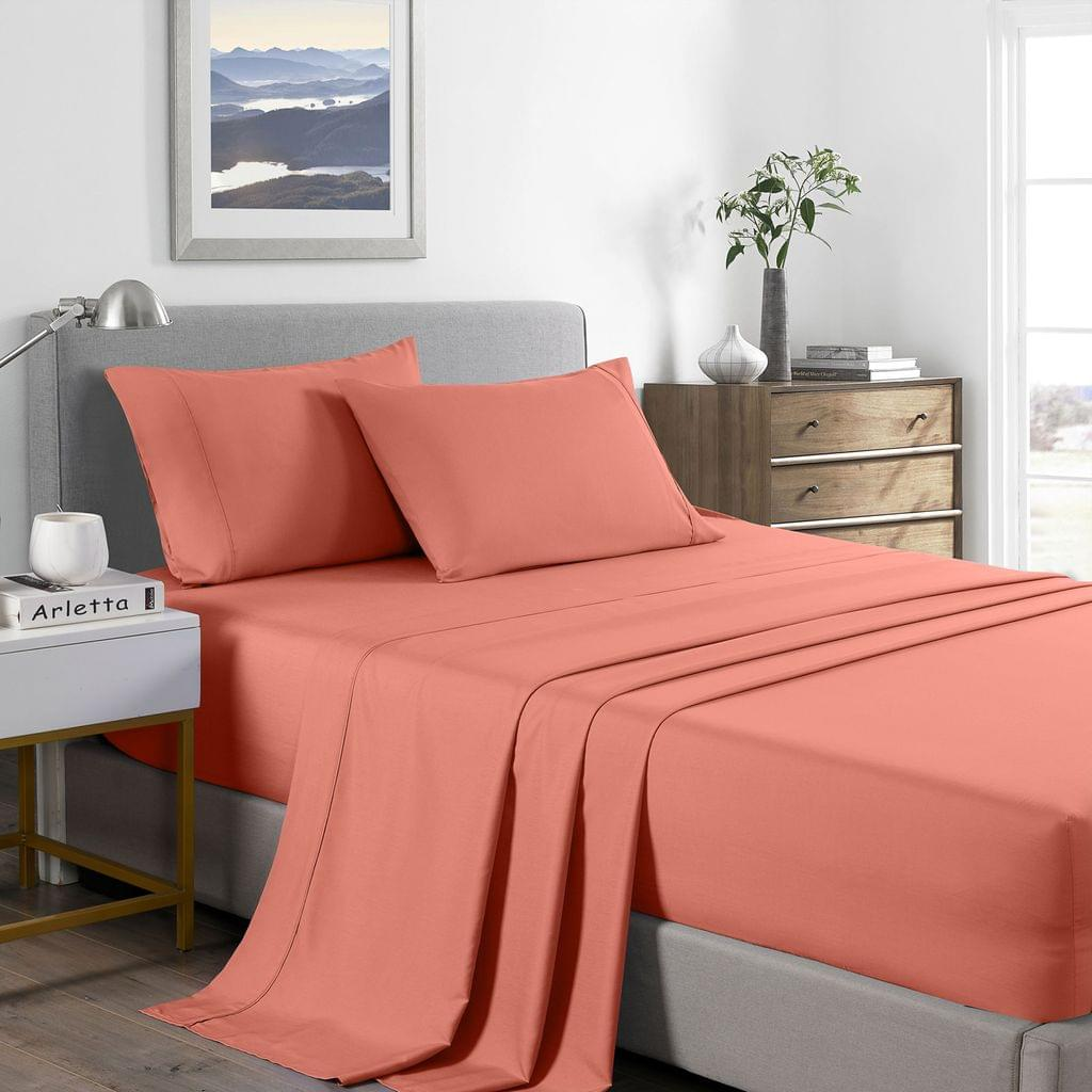 (DOUBLE) Royal Comfort 2000 Thread Count Bamboo Cooling Sheet Set Ultra Soft Bedding - Peach
