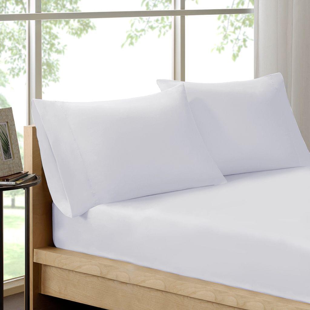 (DOUBLE)Royal Comfort 100% Organic Cotton Sheet Set 3 Piece Luxury 250 Thread Count  White