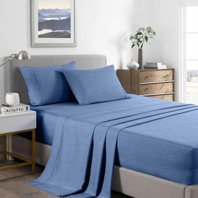 (QUEEN) Royal Comfort 2000 Thread Count Bamboo Cooling Sheet Set Ultra Soft Bedding  - Denim