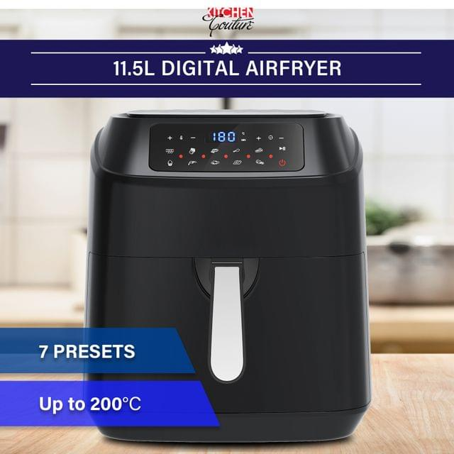 Kitchen Couture 11.5 Litre Air Fryer Multifunctional LCD Digital Display Black