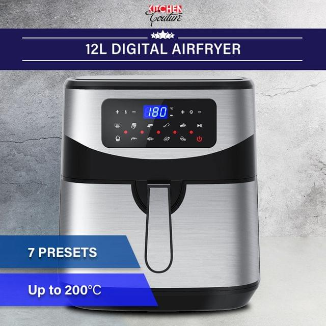 Kitchen Couture 12 Litre Air Fryer Multifunctional LCD One Touch Display Silver