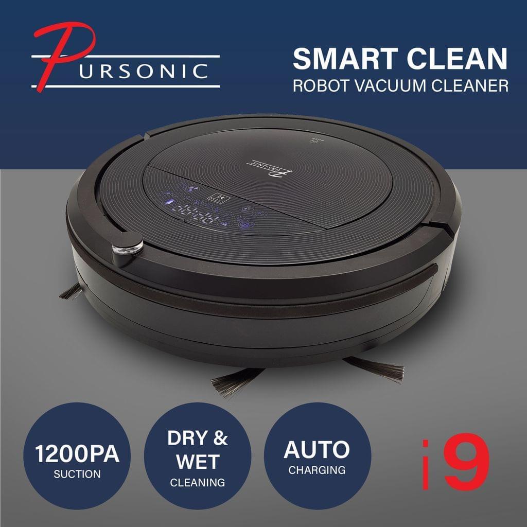 Pursonic i9 Robotic Vacuum Cleaner Carpet Floor Dry Wet Mopping Auto Robot Black