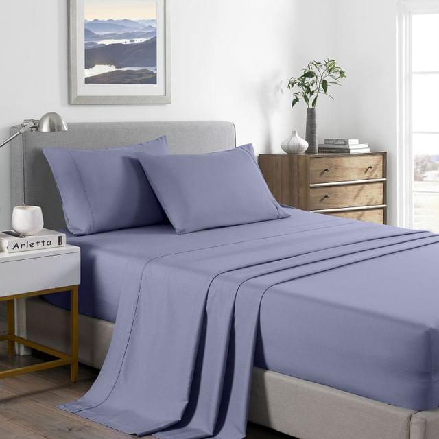 (SINGLE) Royal Comfort 2000 Thread Count Bamboo Cooling Sheet Set Ultra Soft Bedding -  Lilac Grey