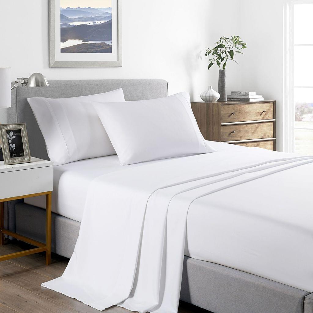 (KING SINGLE) Casa Decor 2000 Thread Count Bamboo Cooling Sheet Set Ultra Soft Bedding - White