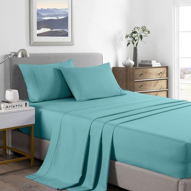 (KING) Royal Comfort 2000 Thread Count Bamboo Cooling Sheet Set Ultra Soft Bedding  - Aqua