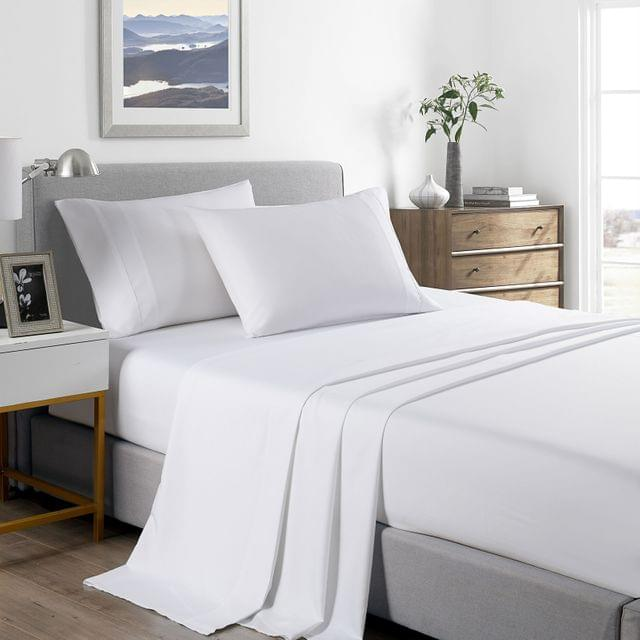 (DOUBLE) Royal Comfort 2000 Thread Count Bamboo Cooling Sheet Set Ultra Soft Bedding - White