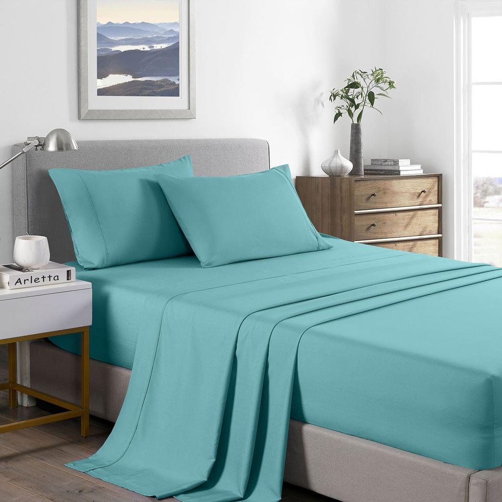 (DOUBLE) Royal Comfort 2000 Thread Count Bamboo Cooling Sheet Set Ultra Soft Bedding - Aqua