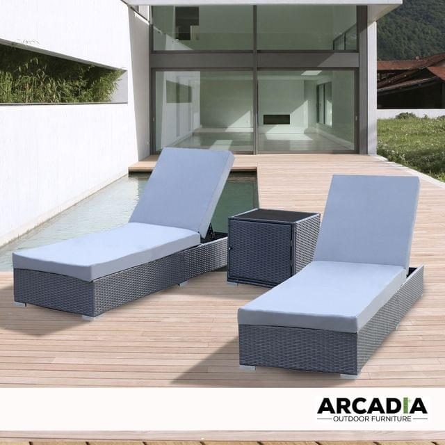 Arcadia Furniture Outdoor 3 Piece Sunlounge Set Rattan Garden Day Bed Lounger - Black and Grey