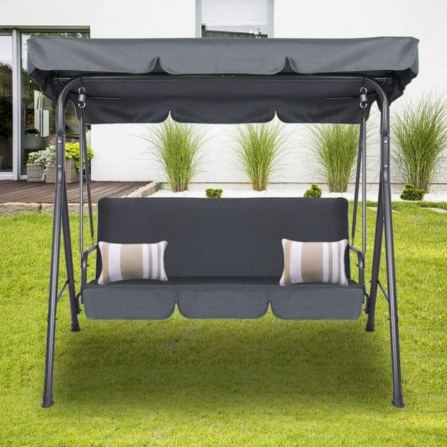Milano Outdoor Swing Bench Seat Chair Canopy Furniture 3 Seater Garden Hammock - Grey