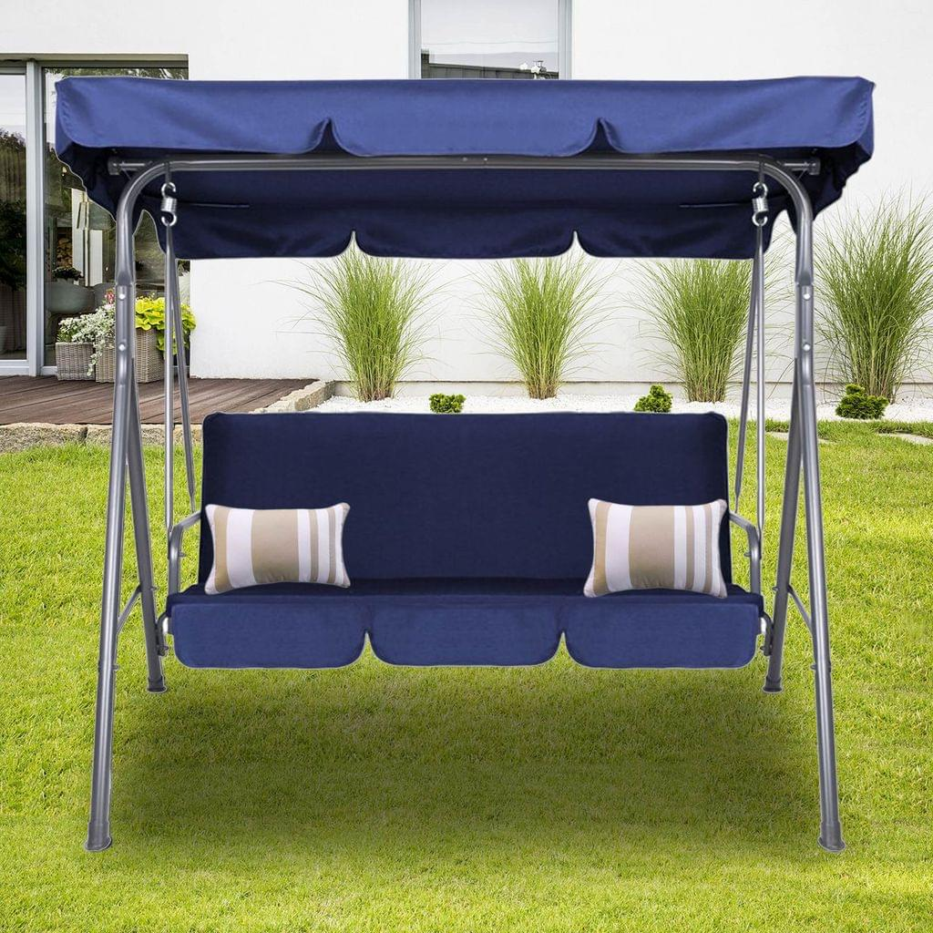 Milano Outdoor Swing Bench Seat Chair Canopy Furniture 3 Seater Garden Hammock - Dark Blue
