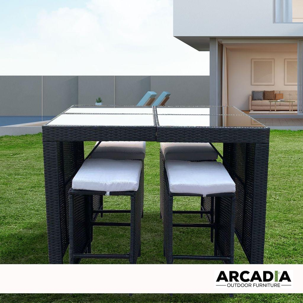 Arcadia Furniture Outdoor 5 Piece Bar Table Set Rattan and Cushions Patio Dining - Black and Grey