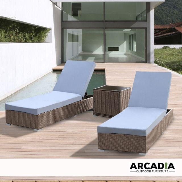 Arcadia Furniture Outdoor 3 Piece Sunlounge Set Rattan Garden Day Bed Lounger - Oatmeal and Grey