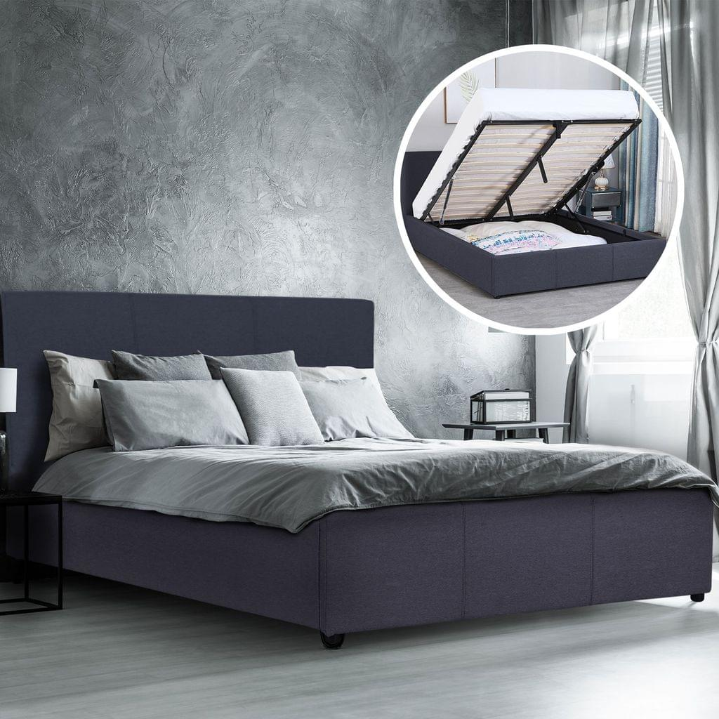 (QUEEN) Milano Luxury Gas Lift Bed Frame Base And Headboard With Storage All Sizes - Charcoal