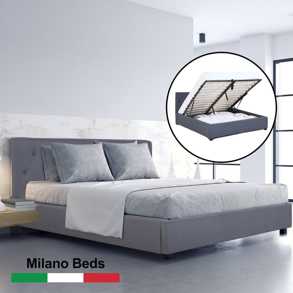 (SINGLE) Milano Capri Luxury Gas Lift Bed Frame Base And Headboard With Storage All Sizes - Grey