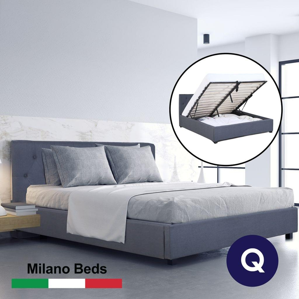 (QUEEN) Milano Capri Luxury Gas Lift Bed Frame Base And Headboard With Storage All Sizes - Charcoal