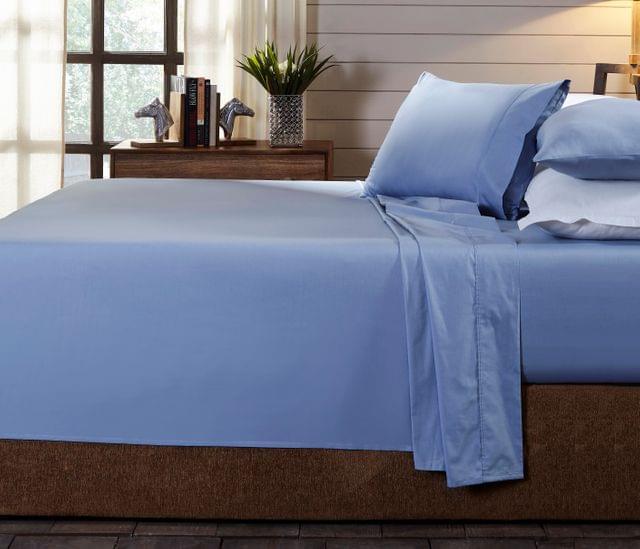 (DOUBLE)Royal Comfort 250TC Organic 100% Cotton Sheet Set 4 Piece Luxury Hotel Style  Indigo