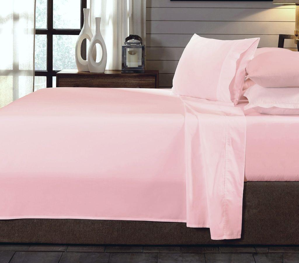 (DOUBLE)Royal Comfort 250TC Organic 100% Cotton Sheet Set 4 Piece Luxury Hotel Style  Blush