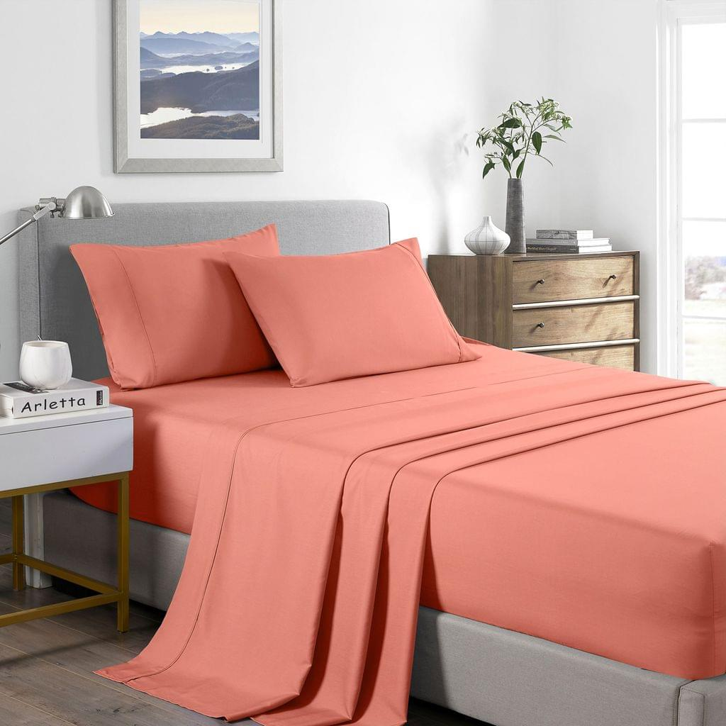 (DOUBLE) Casa Decor 2000 Thread Count Bamboo Cooling Sheet Set Ultra Soft Bedding - Peach