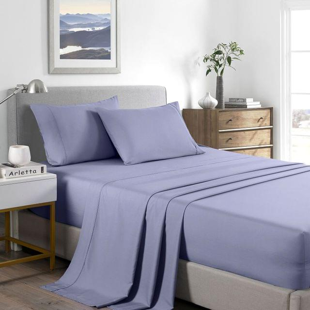 (DOUBLE) Casa Decor 2000 Thread Count Bamboo Cooling Sheet Set Ultra Soft Bedding  - Lilac Grey