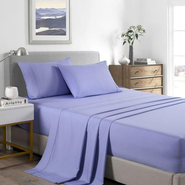 (DOUBLE) Casa Decor 2000 Thread Count Bamboo Cooling Sheet Set Ultra Soft Bedding - Mid Blue