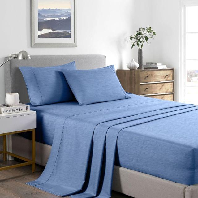 (DOUBLE) Casa Decor 2000 Thread Count Bamboo Cooling Sheet Set Ultra Soft Bedding - Denim