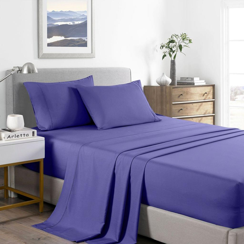 (DOUBLE) Casa Decor 2000 Thread Count Bamboo Cooling Sheet Set Ultra Soft Bedding - Royal Blue