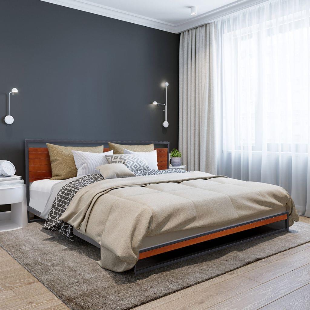 (SINGLE) Milano Decor Azure Bed Frame With Headboard Black Wood Steel Platform Bed - Black