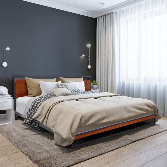 (QUEEN) Milano Decor Azure Bed Frame With Headboard Black Wood Steel Platform Bed - Black