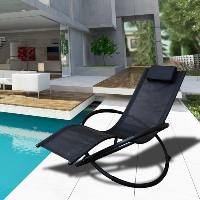 Arcadia Furniture Zero Gravity Portable Foldable Rocking Chair Recliner Lounge - Black