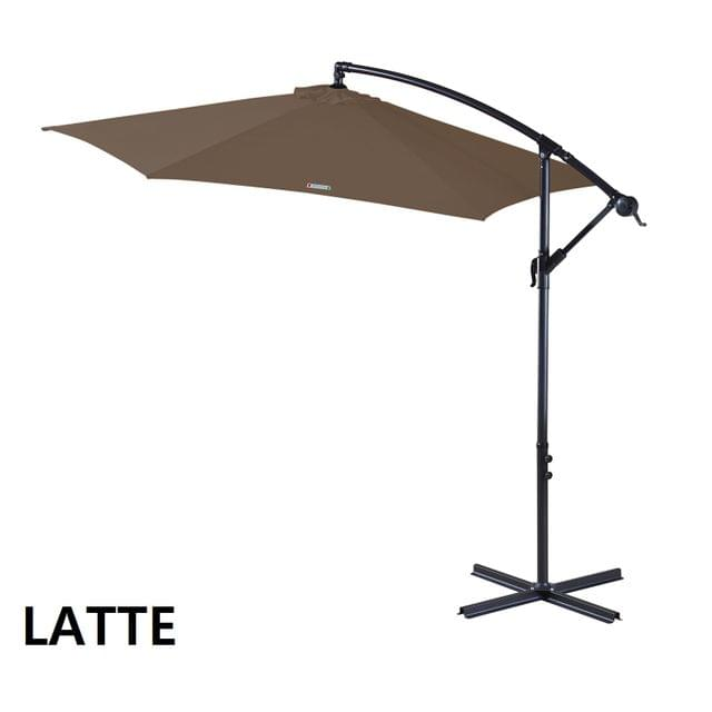 Milano Outdoor 3 Metre Cantilever Umbrella UV Sunshade Garden Patio Deck - Latte