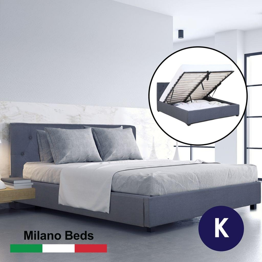 (KING) Milano Capri Luxury Gas Lift Bed Frame Base And Headboard With Storage All Sizes - Charcoal