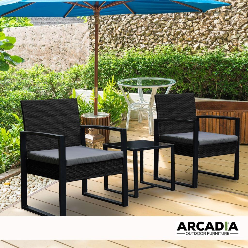 Arcadia Furniture Outdoor 3 Piece Wicker Rattan Patio Set Garden Patio Home - Black and Grey