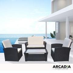 Arcadia Furniture Outdoor 4 Piece Sofa Lounge Set Wicker Rattan Garden - Black and Grey