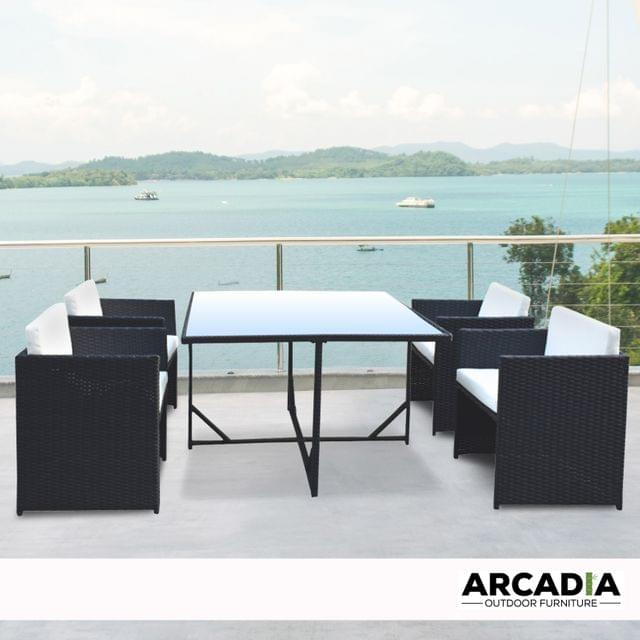 Arcadia Furniture 5 Piece Outdoor Dining Table Set Rattan Table Chairs Garden - Black and Grey