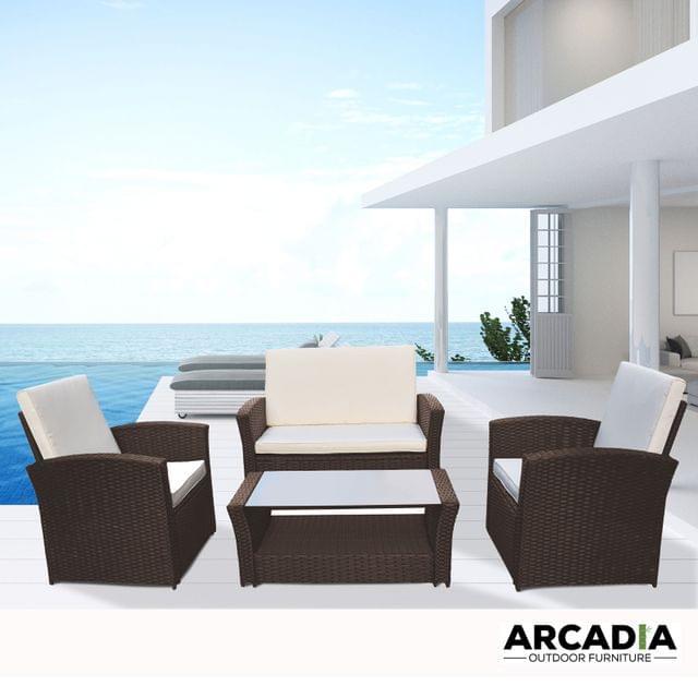 Arcadia Furniture Outdoor 4 Piece Sofa Lounge Set Wicker Rattan Garden - Oatmeal and Grey
