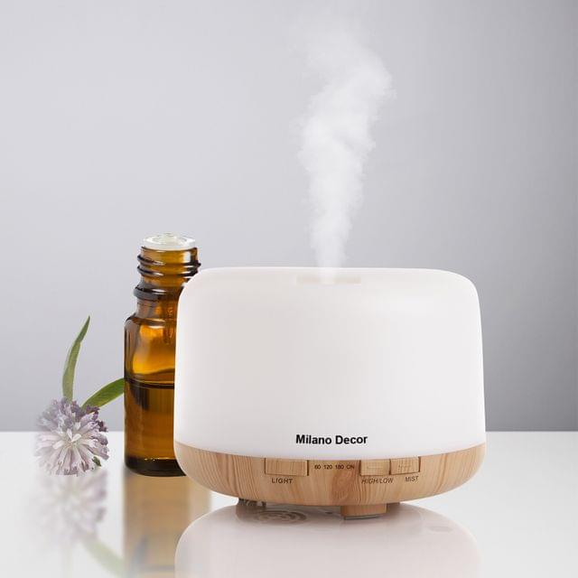 Milano Decor Mood Light Diffuser 500ml Ultrasonic Humidifier With 3 Pack Oils - Light Wood