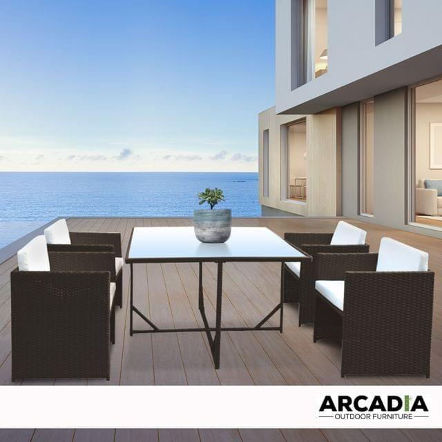 Arcadia Furniture 5 Piece Outdoor Dining Table Set Rattan Table Chairs Garden - Oatmeal and Grey