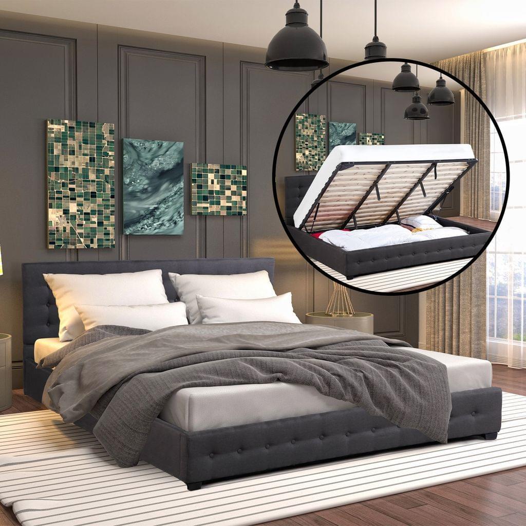 (KING) Milano Decor Eden Gas Lift Bed With Headboard Platform Storage Dark Grey Fabric - Dark Grey