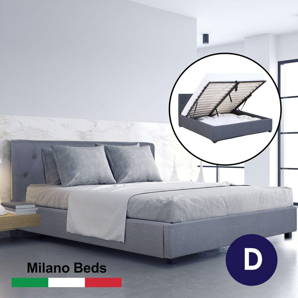 (DOUBLE) Milano Capri Luxury Gas Lift Bed Frame Base And Headboard With Storage All Sizes - Grey